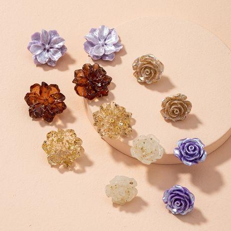 transparent resin gold leaf rose flower earrings NHAI279164's discount tags