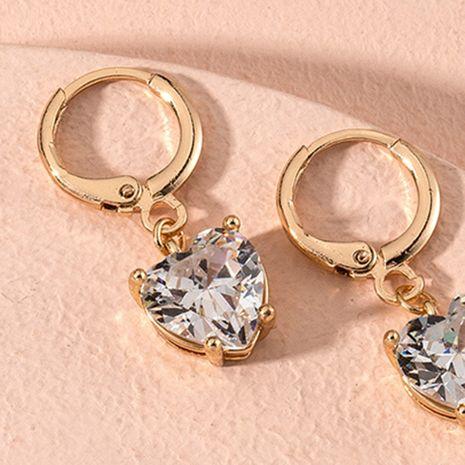 gold-plated peach heart rhinestone earrings  NHAI279165's discount tags