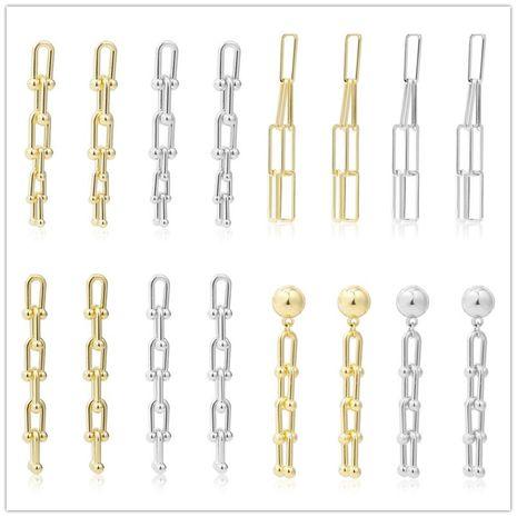 pendientes largos de metal con motivo geométrico irregular NHJJ279182's discount tags