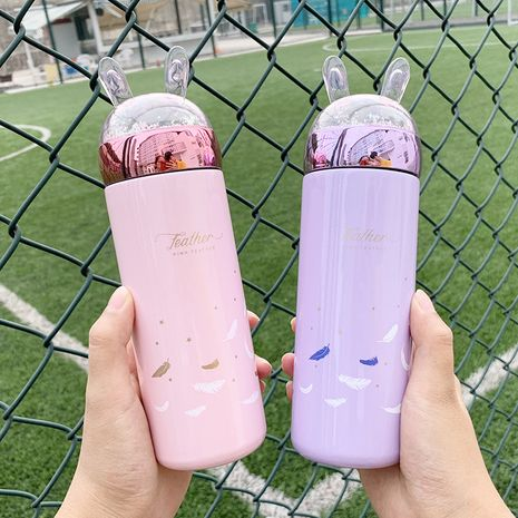 feather sequined rabbit cute stainless steel vacuum flask  NHtn279468's discount tags