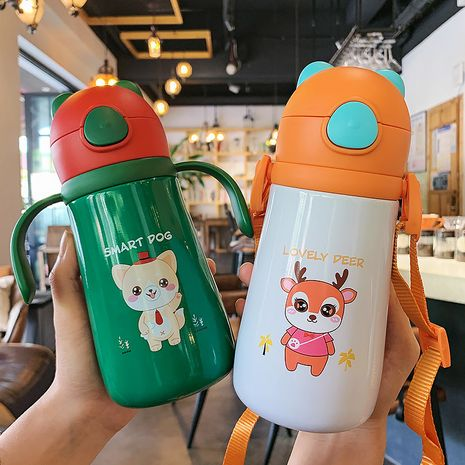 Cute children's straw thermos 316 stainless steel bouncing lid water cup  NHtn279507's discount tags