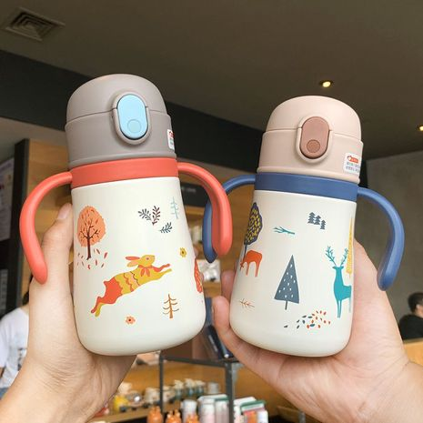 Cute cartoon printing 316 stainless steel children's portable strap insulation cup  NHtn279552's discount tags