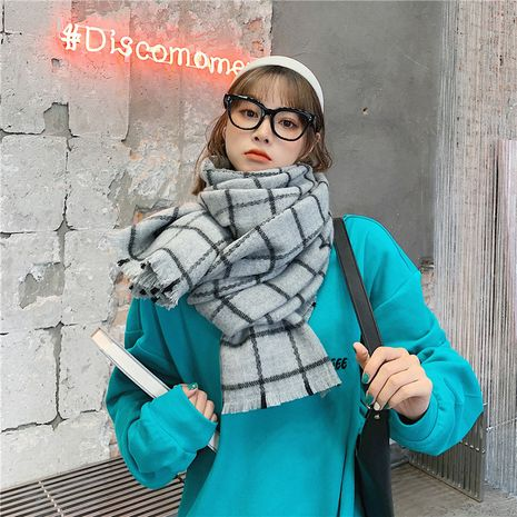 Korean plaid scarf thickening warmth scarf  NHCM279614's discount tags