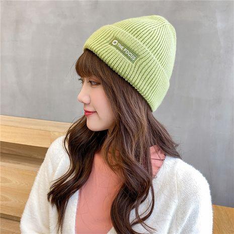Sombrero caliente de la manera del bordado de lana de punto del color sólido coreano NHCM279618's discount tags