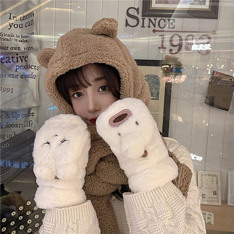cute cartoon warm plus velvet knitted gloves NHCM279623