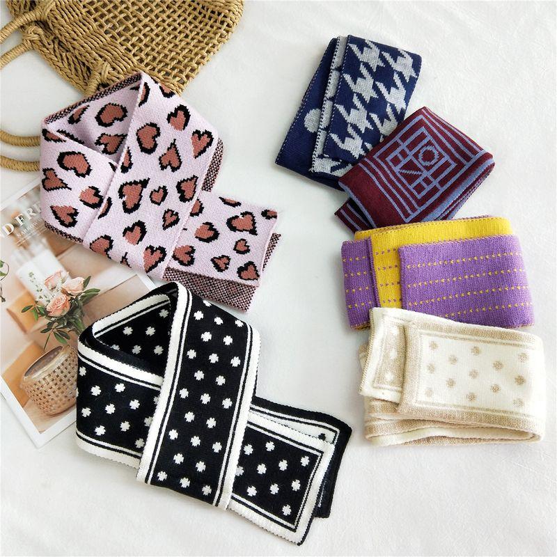 Korean Doublesided warm knitted wool scarf  NHMN279637