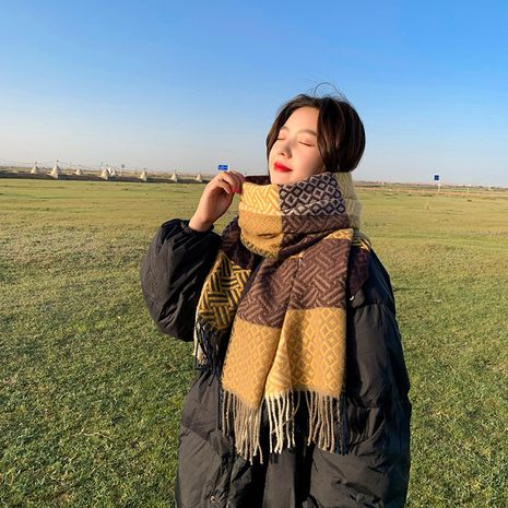 new imitative cashmere color matching plaid thick warmth tassel scarf  NHCJ279658's discount tags