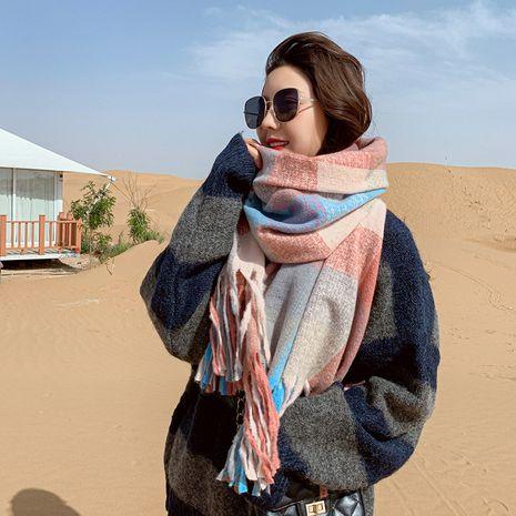 British fashion imitative cashmere new thick warm tassel plaid scarf  NHCJ279669's discount tags