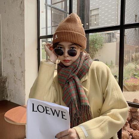 new British plaid warmth imitative cashmere tassel retro  scarf NHCJ279682's discount tags