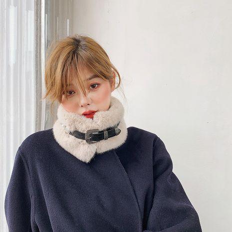 Bufanda de lana con cuello de piel de conejo sintético NHCJ279697's discount tags