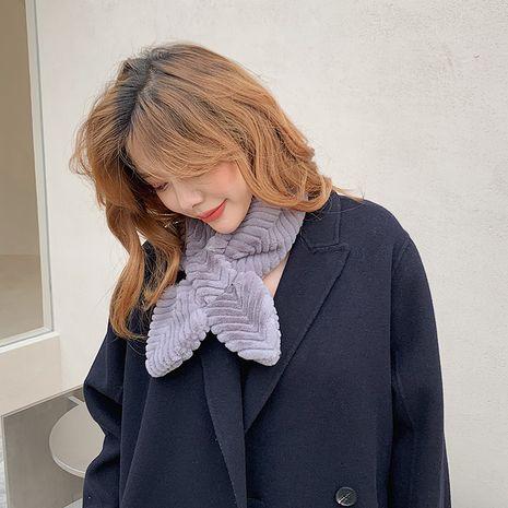 Nueva bufanda cálida de piel de conejo de imitación a rayas NHCJ279721's discount tags