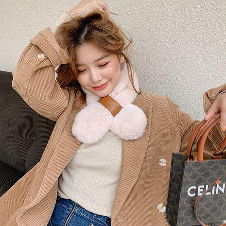 Bufanda de felpa gruesa de color sólido de piel de conejo coreano NHCJ279724's discount tags