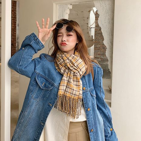 Korean new imitative cashmere plaid scarf  NHCJ279725's discount tags