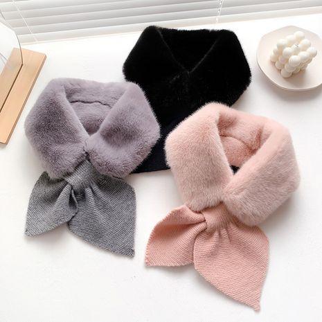bufanda gruesa cálida de color puro de piel de conejo de imitación de invierno nueva NHCJ279733's discount tags