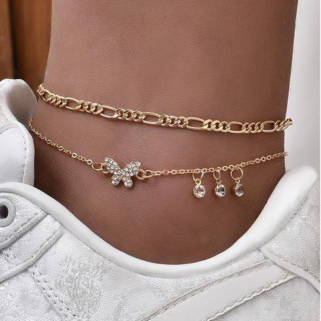 Women's Butterfly Love Multilayer Anklet  NHAJ280007's discount tags