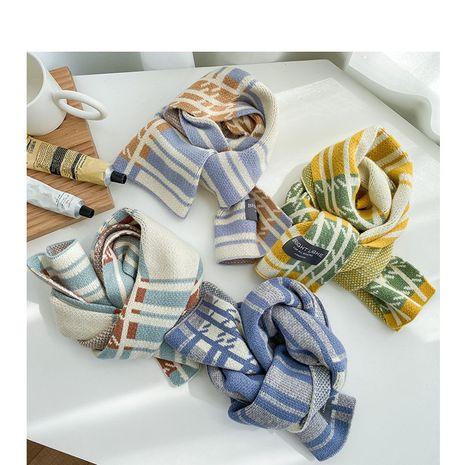 Korean  new  color matching plaid shawl  wool scarf NHQU279265's discount tags