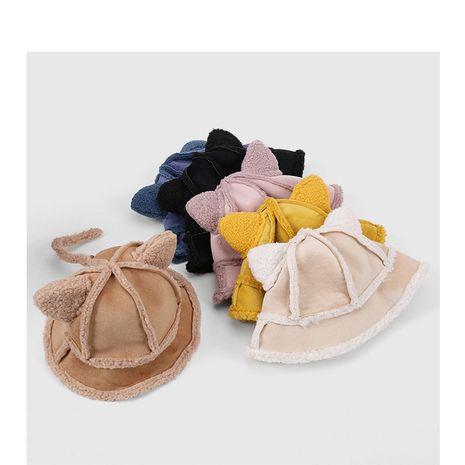 cálido gorro de pescador de lana de cordero con orejas de gato NHQU279267's discount tags