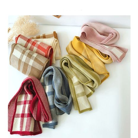 Korean  new  plaid scarf  NHQU279271's discount tags