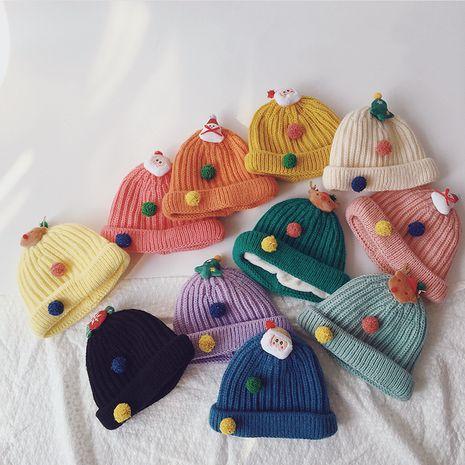 Gorro de lana de punto infantil navideño NHQU279274's discount tags