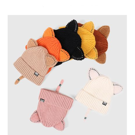 lindo gorro de lana con orejas suaves NHQU279283's discount tags