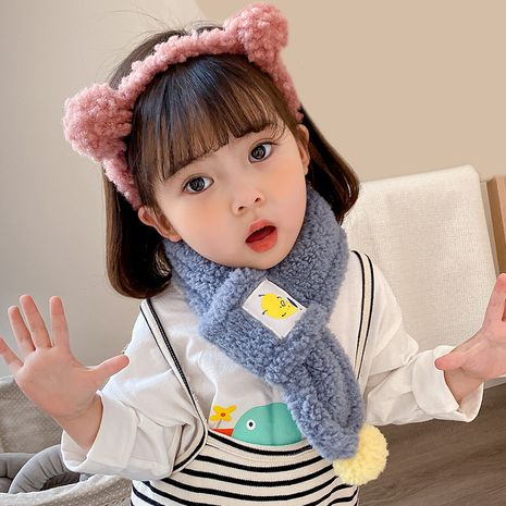 children's bib thickened warm  wool scarf NHQU279331's discount tags