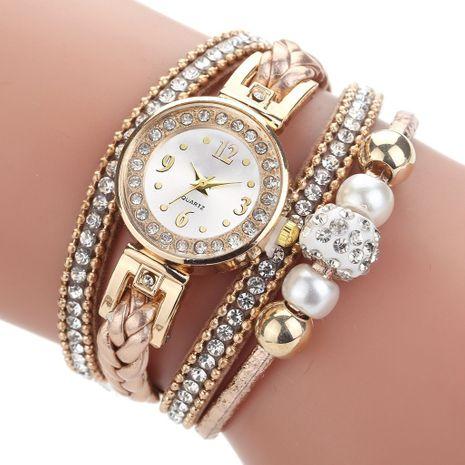 Reloj de la correa de la PU del círculo con cuentas de perlas de diamantes de imitación de moda NHSY279371's discount tags