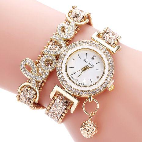 Reloj de pulsera circular LOVE con letra de diamantes de imitación NHSY279376's discount tags