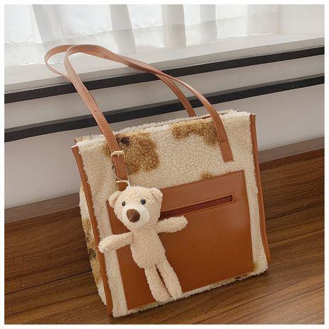 High-quality lamb plush portable tote bag NHJZ279783's discount tags