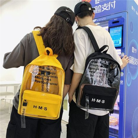 retro transparent printed letter backpack NHHX279859's discount tags
