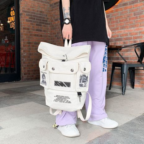 printed hip-hop multi-pocket large-capacity fashion canvas backpack NHHX279861's discount tags