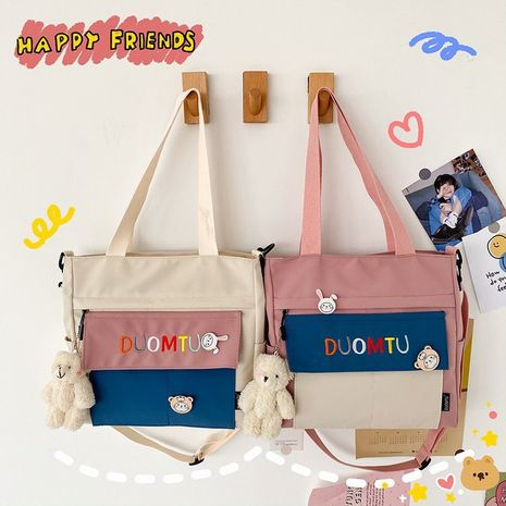 cute contrast color embroidery letter messenger bag  NHHX279884's discount tags