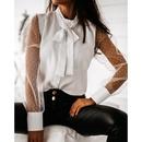 Fashion mesh stitching button bow long sleeve shirt NHWA280809