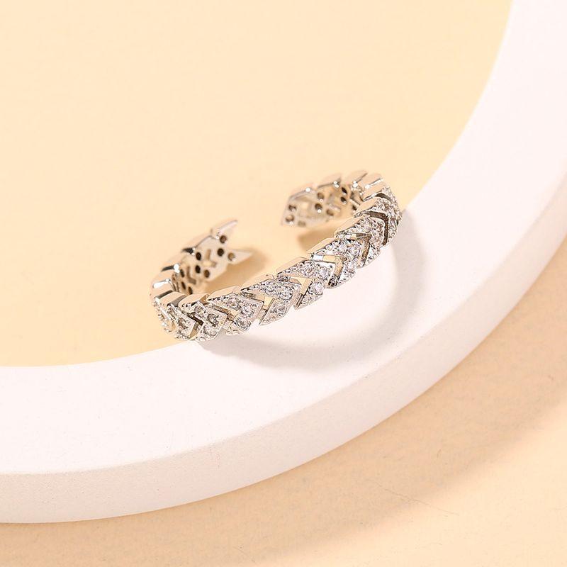 new classic  fashion arrow leaf inlaid zircon ring  NHAN280049