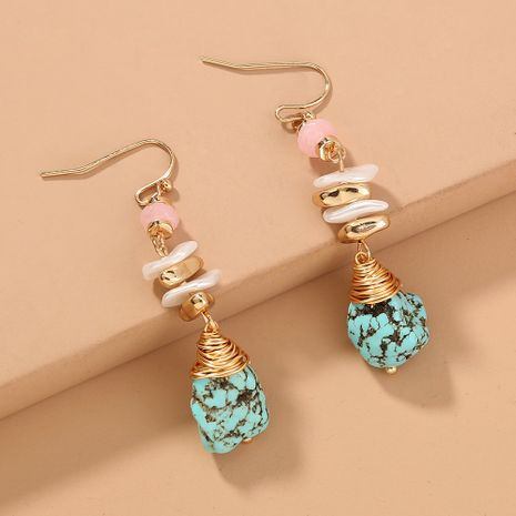 turquoise long earrings NHAN280061's discount tags