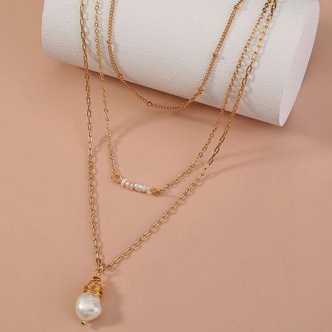 Collar de perlas de agua dulce naturales multicapa NHAN280100's discount tags