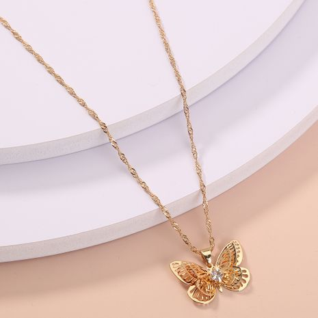 hot-selling gold-studded butterfly fashion  wild necklace NHAN280104's discount tags