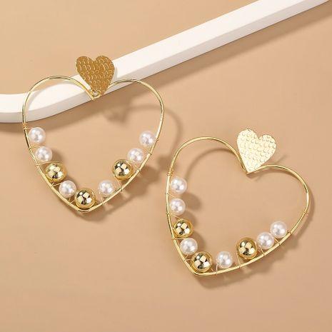 boucles d'oreilles en métal perlé coeur pêche exagéré rétro NHAN280110's discount tags