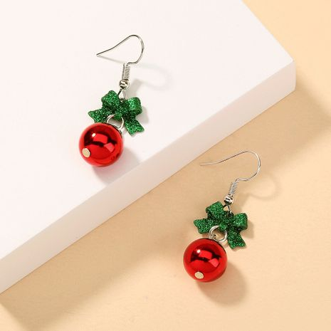 Christmas bow red ball earrings NHAN280116's discount tags