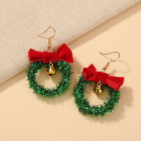 Weihnachtsglocke Bowknot Hollow Green Circle Ohrringe NHAN280123's discount tags