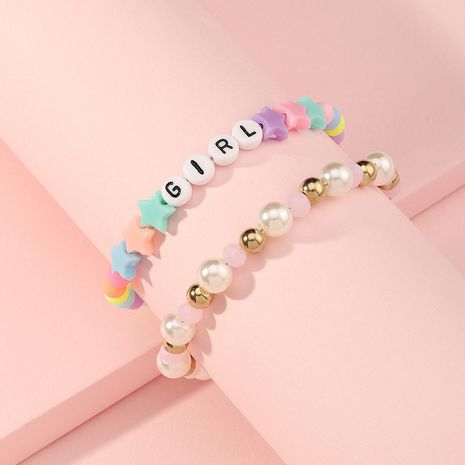 Korean children's pearl letters acrylic girls color stars cute bracelet set   NHNU280133's discount tags