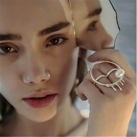 water drop pearl metal ring  NHYQ280149's discount tags