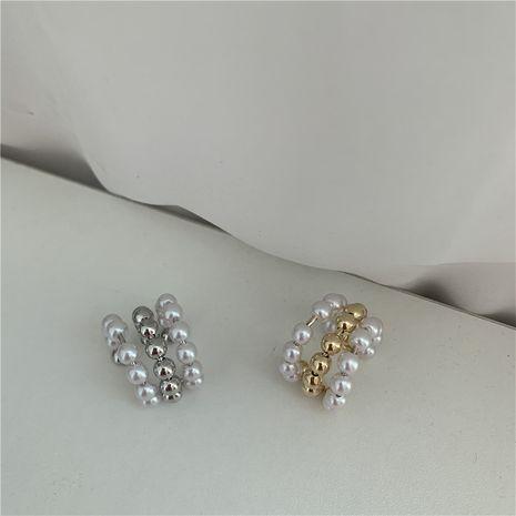 Three-layer half-circle metal pearls   ear clips  NHYQ280151's discount tags