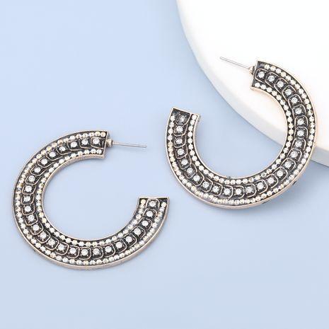 boucles d'oreilles en forme de C en acrylique en alliage exagéré serti de diamants NHJE280157's discount tags