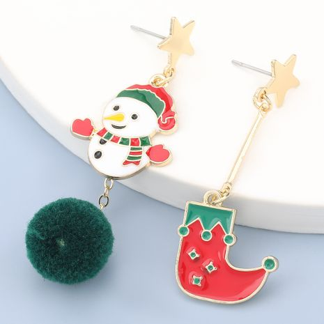 hair ball alloy snowman Christmas boots earrings  NHJE280162's discount tags