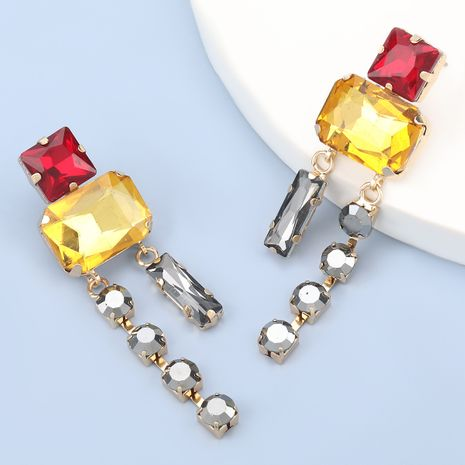 Fashion Multilayer Square Glass Diamond Exaggerated Earrings NHJE280166's discount tags