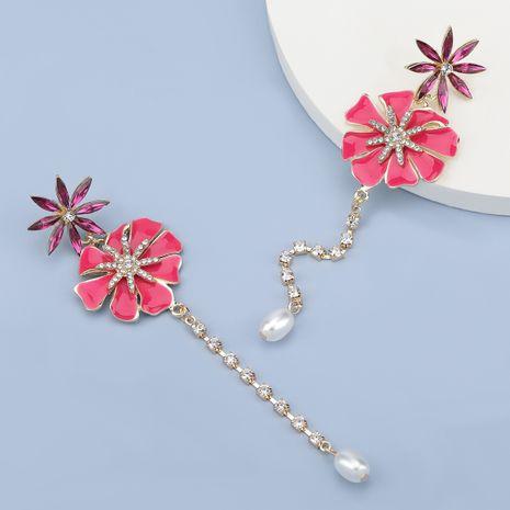 Fashion alloy diamond flower long earrings NHJE280167's discount tags