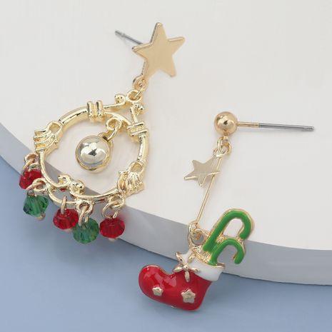 Legierung Weihnachtsstiefel Acryl Quaste asymmetrische Ohrringe NHJE280177's discount tags
