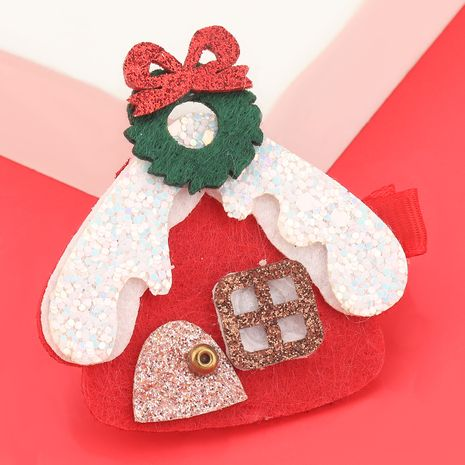 Christmas series flannel snow house hairpin  NHJE280181's discount tags
