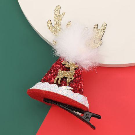 Christmas series flannel antler sequin hat hairpin  NHJE280185's discount tags