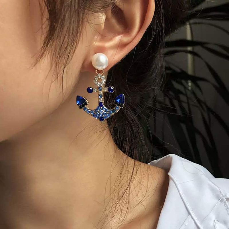 retro anchor pearl alloy full diamond earrings NHLN280205